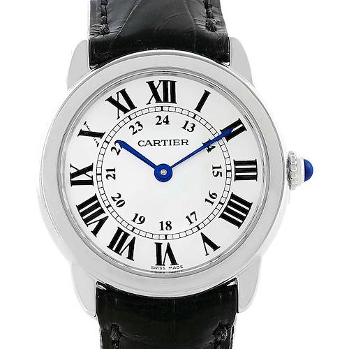 Photo of Cartier Ronde Solo Silver Dial Black Strap Steel Ladies Watch W6700155