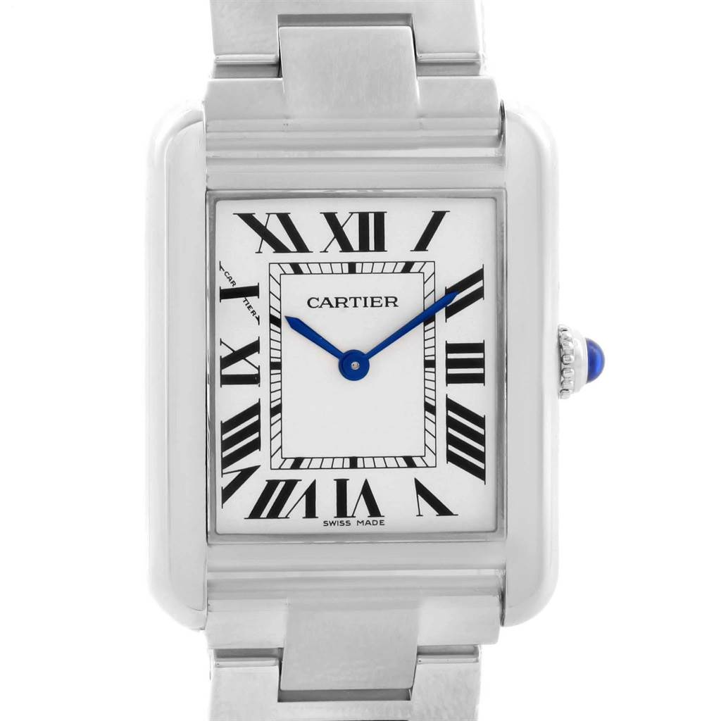 19856X Cartier Tank Solo Silver Dial Small Steel Ladies Watch W5200013 SwissWatchExpo