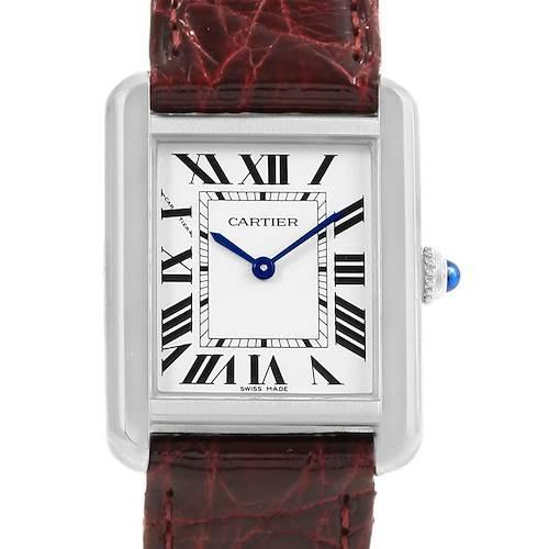 Photo of Cartier Tank Solo Ladies Steel Burgundy Strap Quartz Watch W1018255