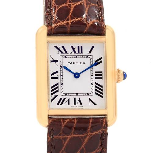 Photo of Cartier Tank Solo Yellow Gold Steel Ladies Watch W1018755 Box Papers