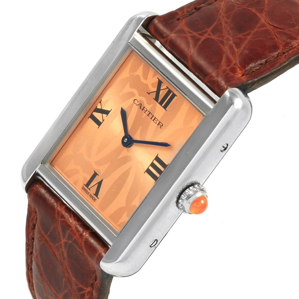 21143 Cartier Tank Solo Orange Dial Limited Edition Ladies Watch W1019455 SwissWatchExpo