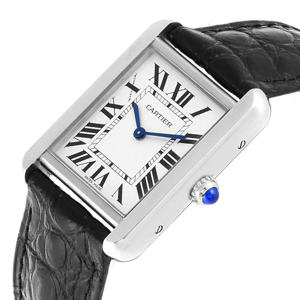 Cartier Tank Solo Steel Black Strap Ladies Watch W1018255 Box Papers SwissWatchExpo