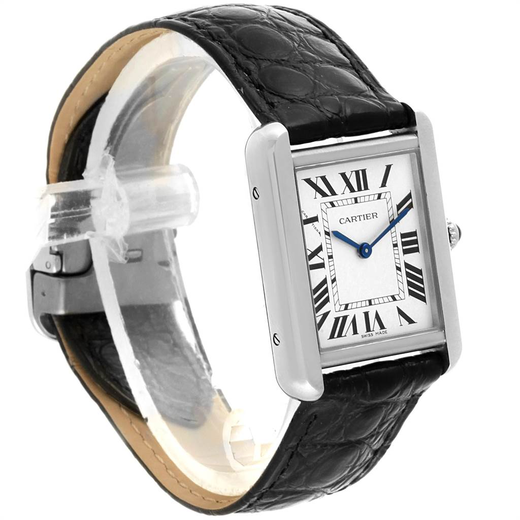 22468 Cartier Tank Solo Steel Black Strap Ladies Watch W1018255 Box Papers SwissWatchExpo
