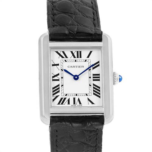 Photo of Cartier Tank Solo Steel Black Strap Ladies Watch W1018255 Box Papers
