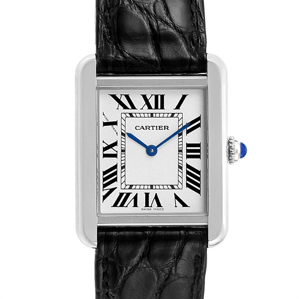 22577 Cartier Tank Solo Steel Black Strap Quartz Ladies Watch W1018255 SwissWatchExpo