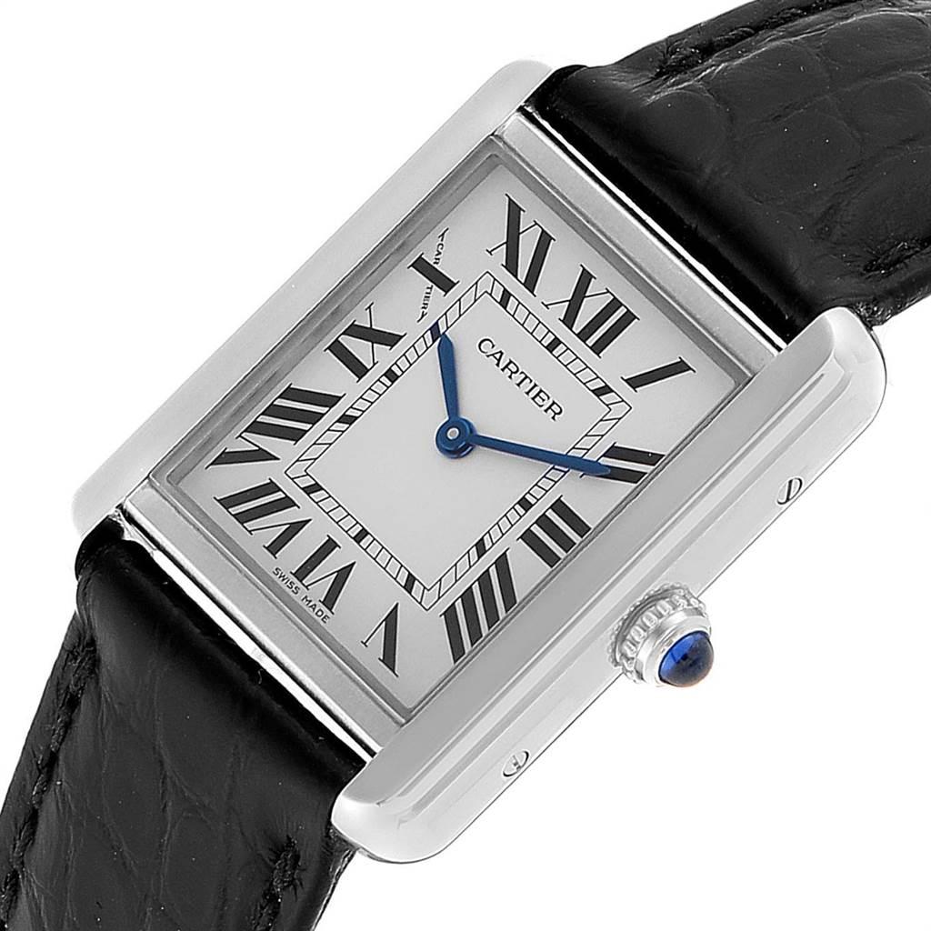 23237 Cartier Tank Solo Steel Black Strap Ladies Watch W5200005 Papers SwissWatchExpo