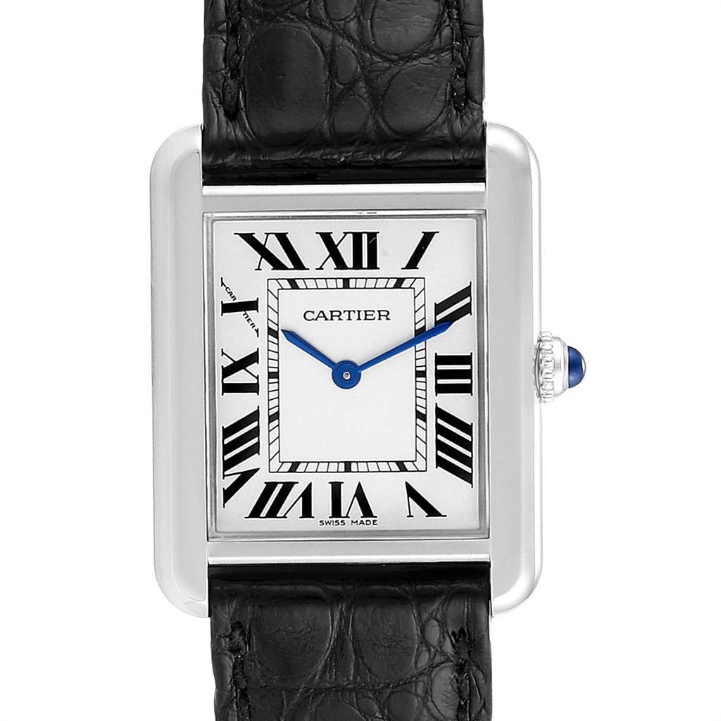 23236 Cartier Tank Solo Steel Black Strap Ladies Watch W1018255 Box Papers SwissWatchExpo