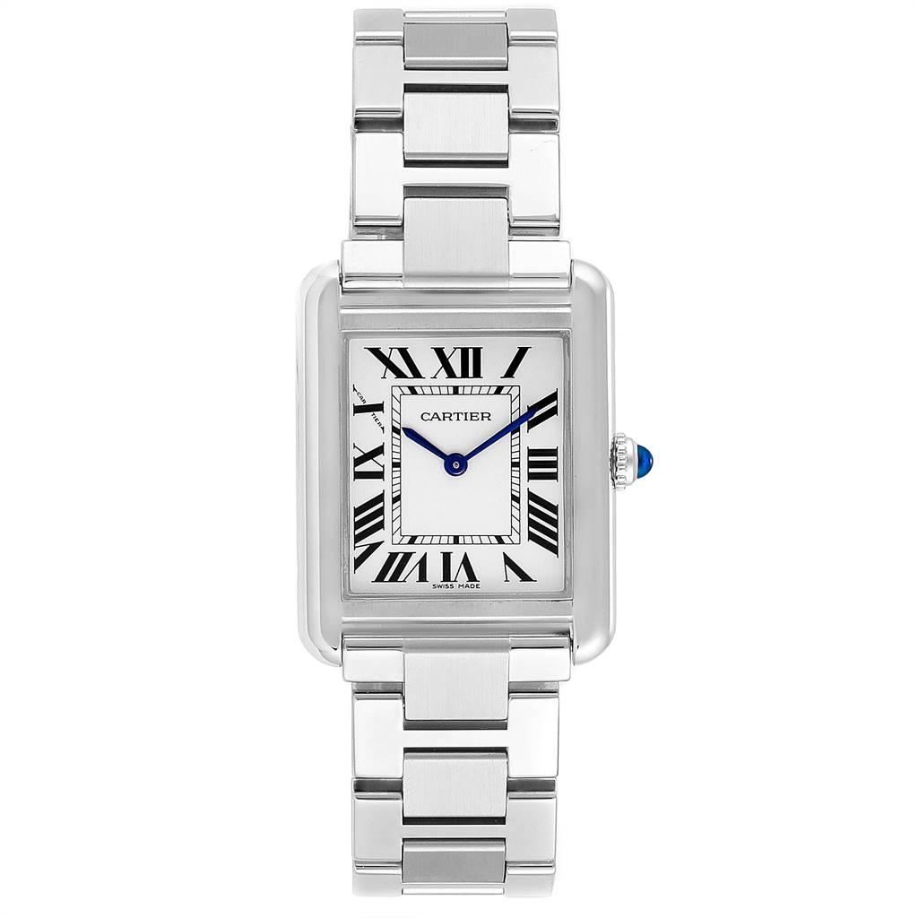24324 Cartier Tank Solo Silver Dial Small Steel Ladies Watch W5200013 SwissWatchExpo