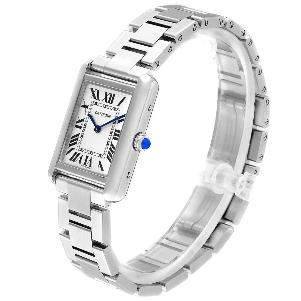 Cartier Tank Solo Silver Dial Small Steel Ladies Watch W5200013 SwissWatchExpo