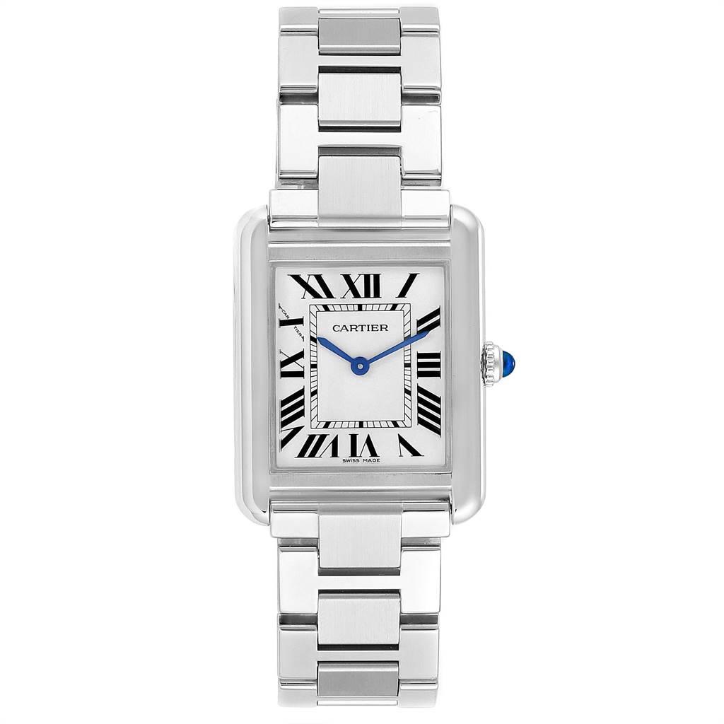 25021 Cartier Tank Solo Silver Dial Small Steel Ladies Watch W5200013 SwissWatchExpo
