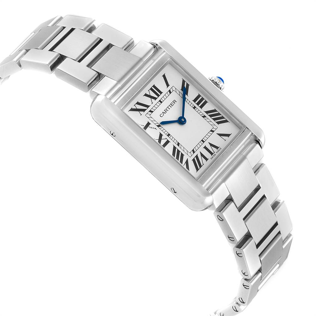25021 Cartier Tank Solo Silver Dial Small Steel Ladies Watch W5200013 SwissWatchExpo