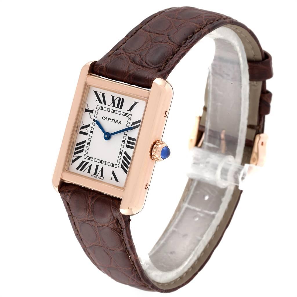 Cartier Tank Solo Rose Gold Steel Silver Dial Ladies Watch W5200024 SwissWatchExpo
