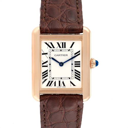 Photo of Cartier Tank Solo Rose Gold Steel Silver Dial Ladies Watch W5200024