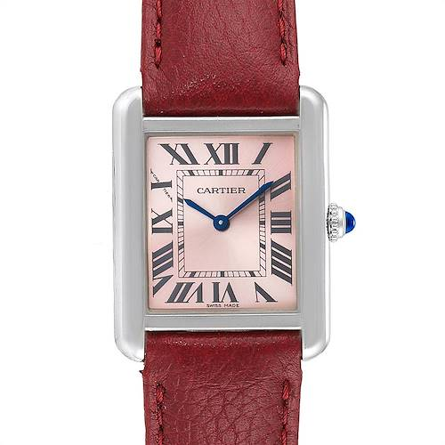 Photo of Cartier Tank Solo Pink Dial Red Strap Steel Ladies Watch 3170