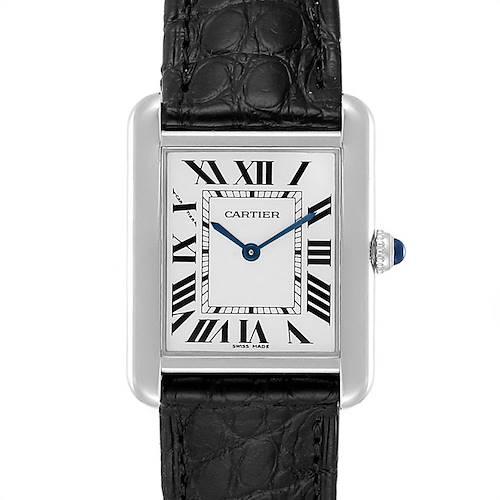 Photo of Cartier Tank Solo Steel Black Strap Quartz Ladies Watch W1018255