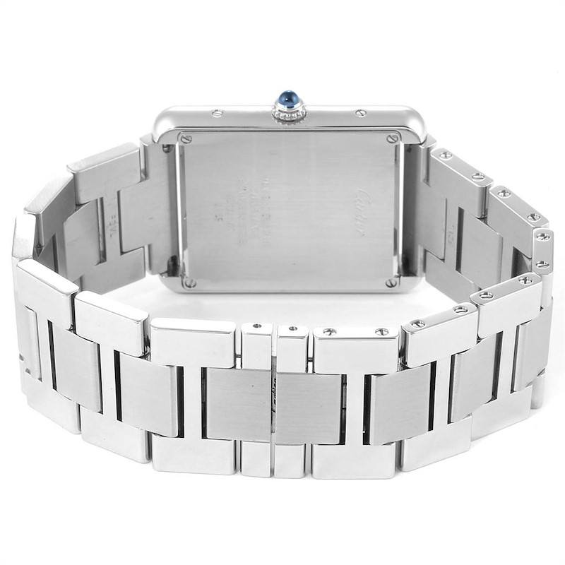 Cartier Tank Solo Silver Dial Steel Mens Watch W5200014 Papers SwissWatchExpo