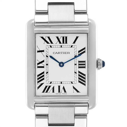 Photo of Cartier Tank Solo Silver Dial Steel Mens Watch W5200014 Papers