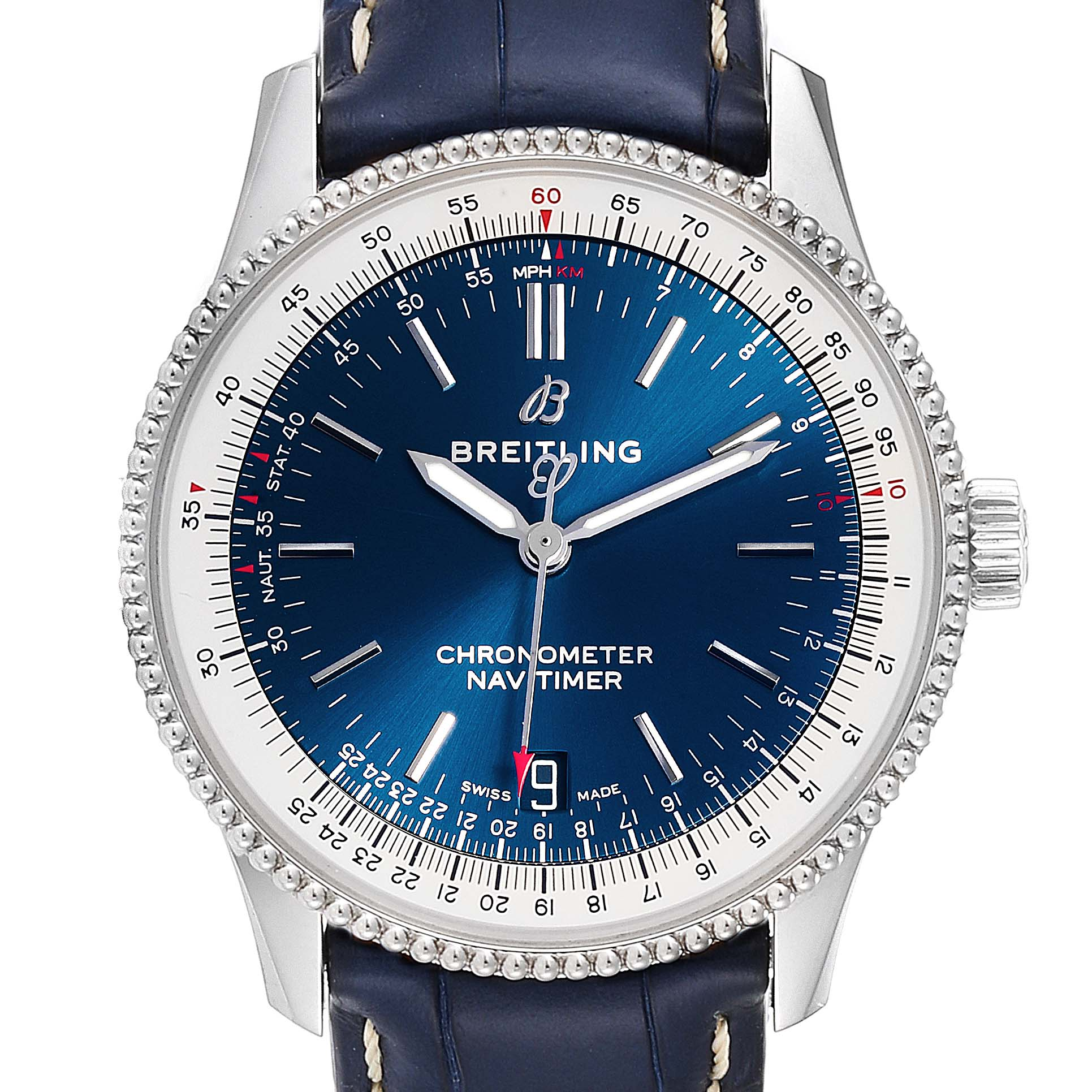 Breitling Navitimer 1 38mm Blue Dial Strap Mens Watch A17325 Box Papers SwissWatchExpo