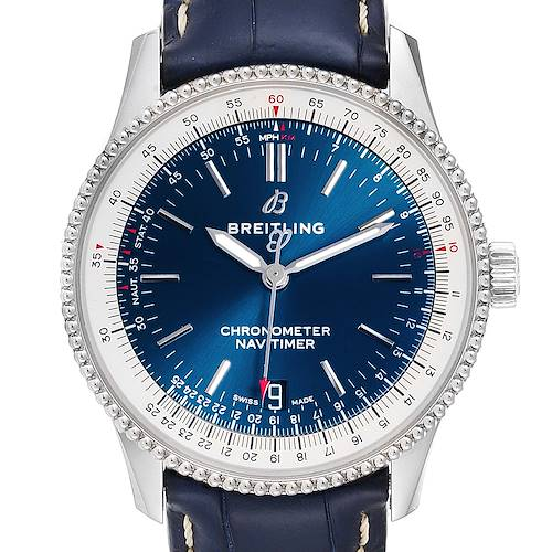 Photo of Breitling Navitimer 1 38mm Blue Dial Strap Mens Watch A17325 Box Papers