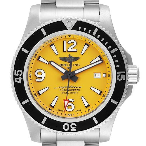 Photo of Breitling Superocean II Yellow Dial Steel Mens Watch A17367 Box Card