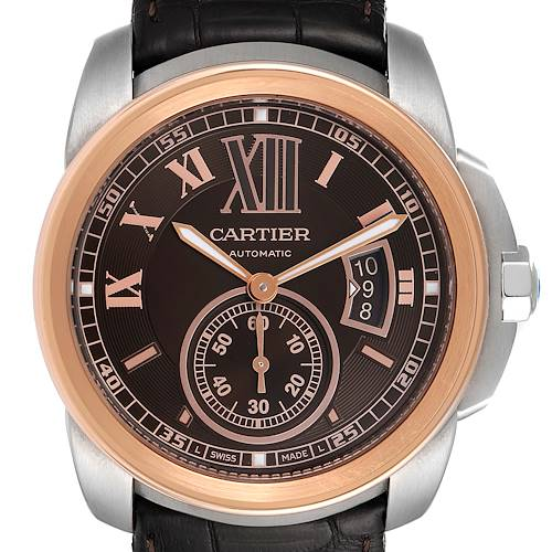 Photo of Cartier Calibre Brown Dial Rose Gold Steel Mens Watch W7100051