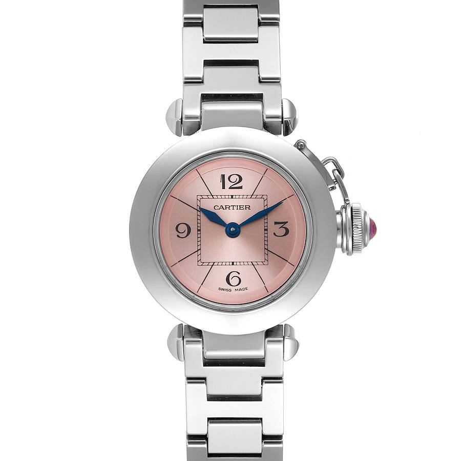 Cartier Miss Pasha Steel Pink Dial Ladies Watch W3140008 Box Papers SwissWatchExpo