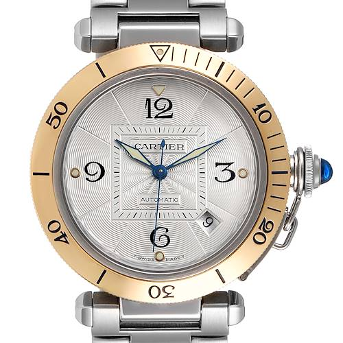 Photo of Cartier Pasha 38mm Steel Yellow Gold Silver Dial Mens Watch 2378 Papers