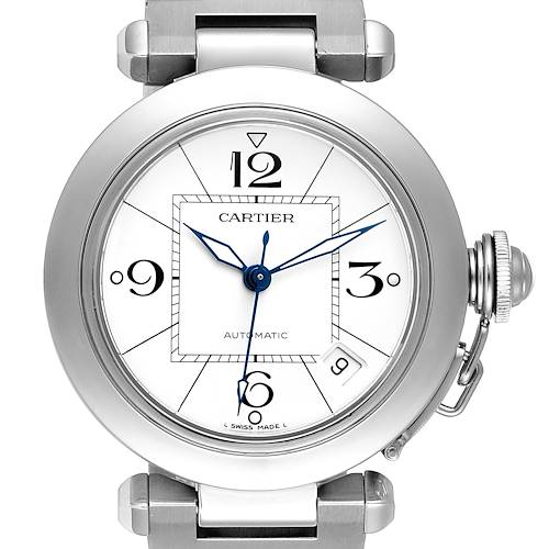 Photo of Cartier Pasha C 35mm White Dial Steel Unisex Watch W31074M7 Box Papers