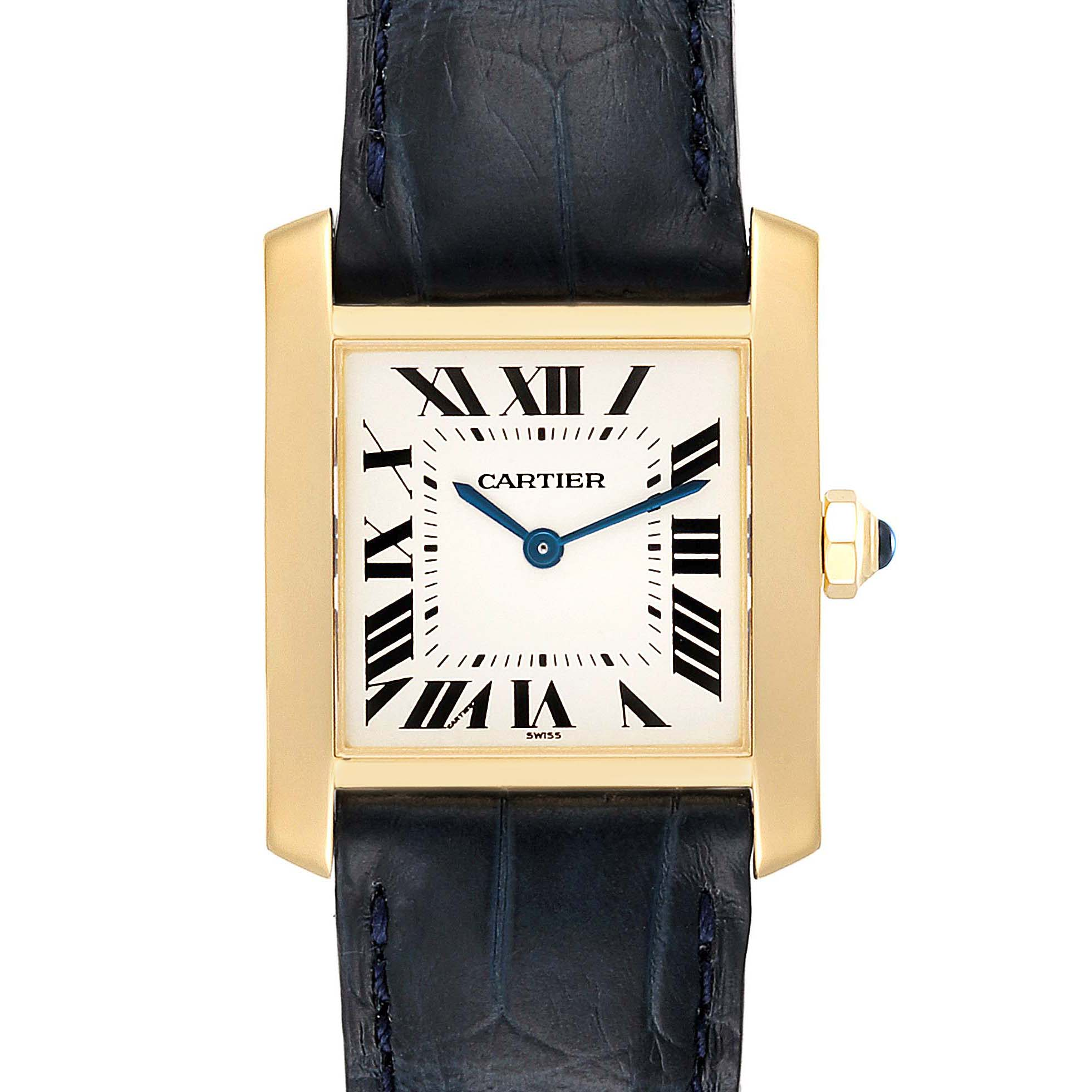 Cartier Tank Francaise Midsize Yellow Gold Black Strap Watch W5000356