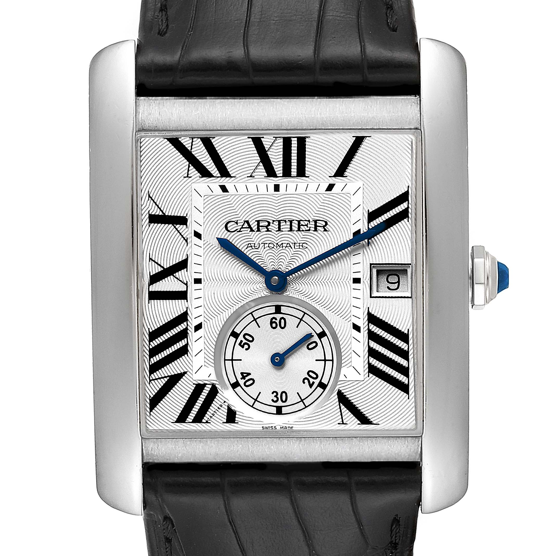Cartier Tank MC Silver Dial Steel Mens Watch W5330003 Box Papers