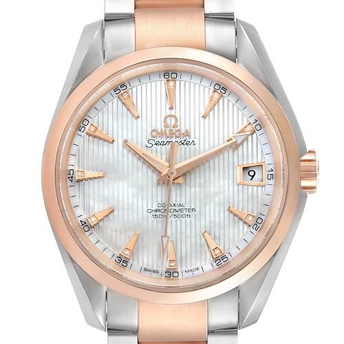 Photo of Omega Aqua Terra Steel Rose Gold Diamond Mens Watch 231.20.39.21.55.001