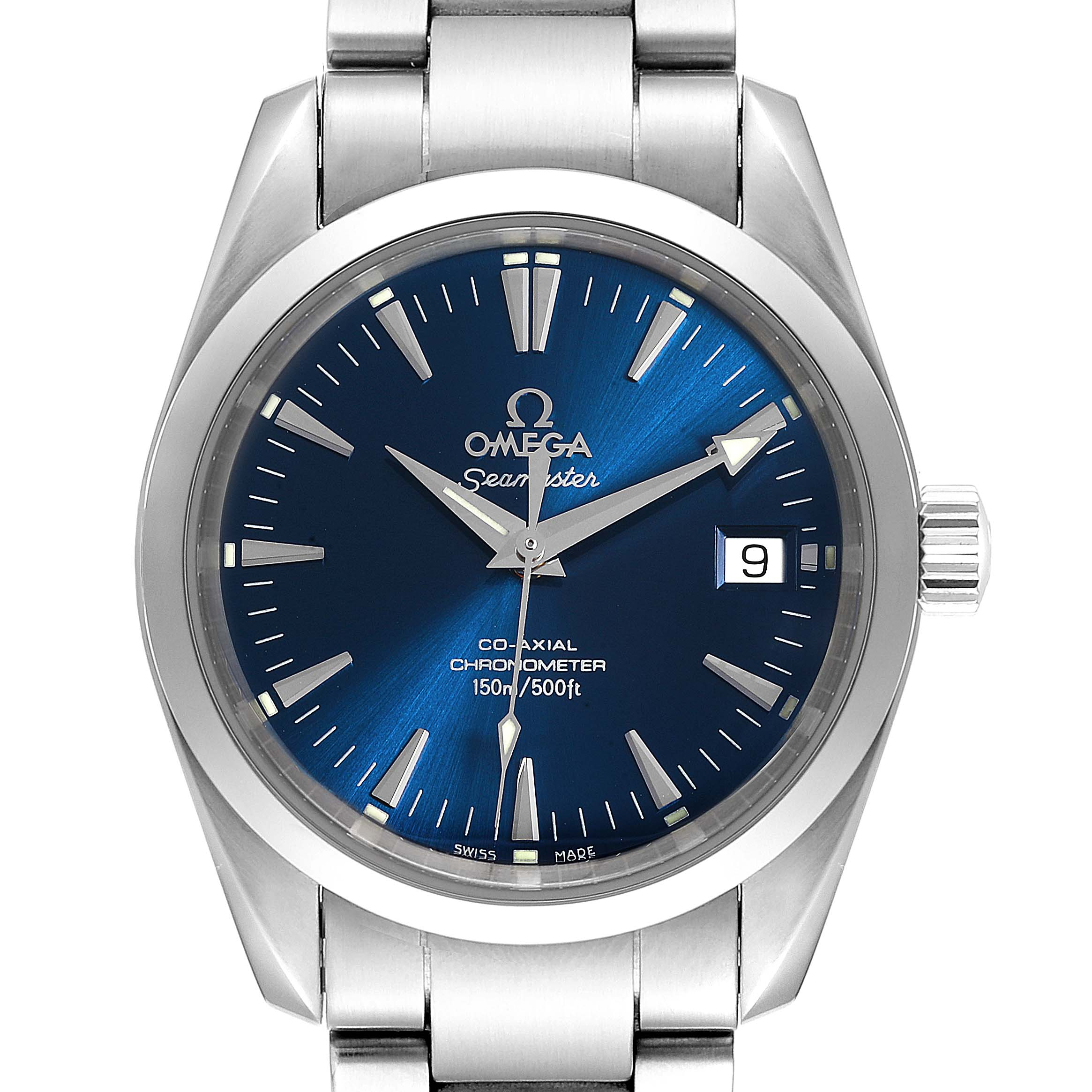 Omega Seamaster Aqua Terra 36 Blue Dial Steel Watch 2504.80.00 Card SwissWatchExpo