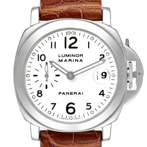 Photo of Panerai Luminor Marina 40 White Dial Steel Mens Watch PAM00049