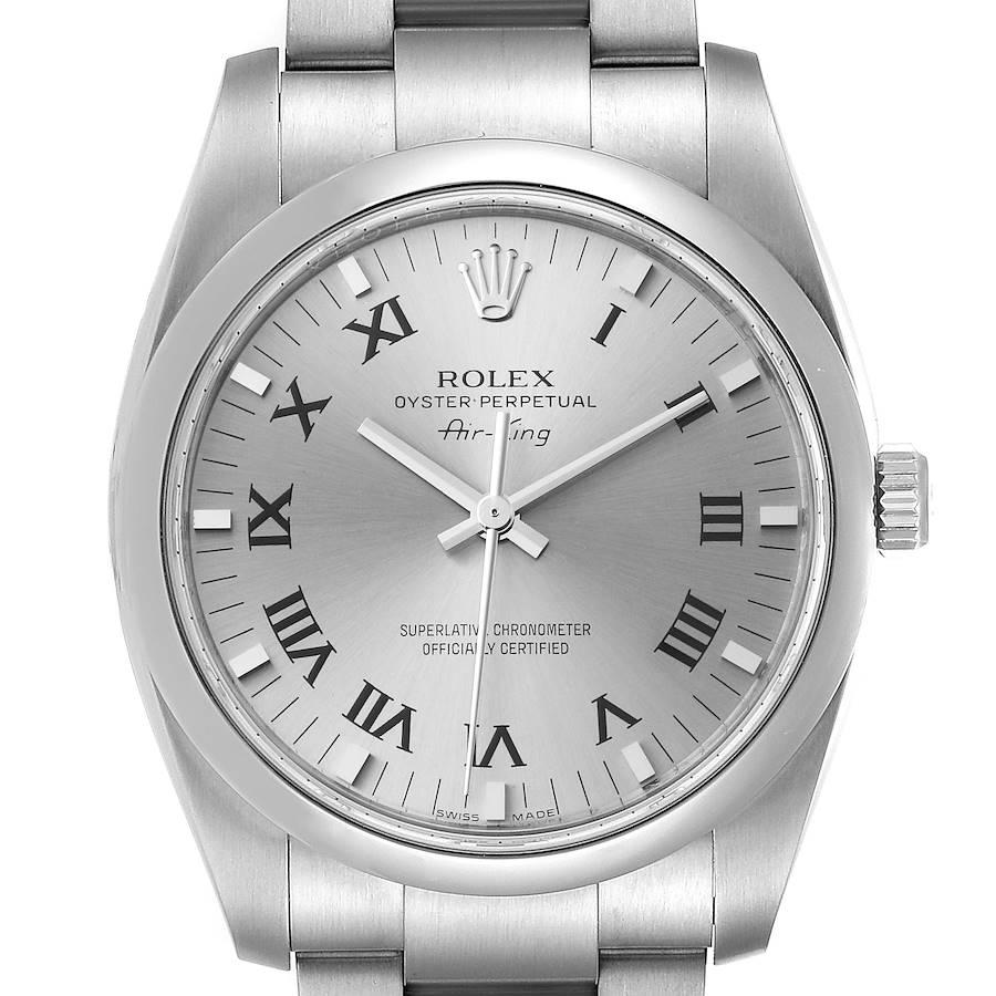 Rolex Air King 34 Slate Roman Dial Domed Bezel Steel Watch 114200 Box Card SwissWatchExpo