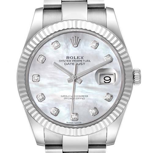 Photo of Rolex Datejust 41 Steel White Gold MOP Diamond Mens Watch 126334 Box Card