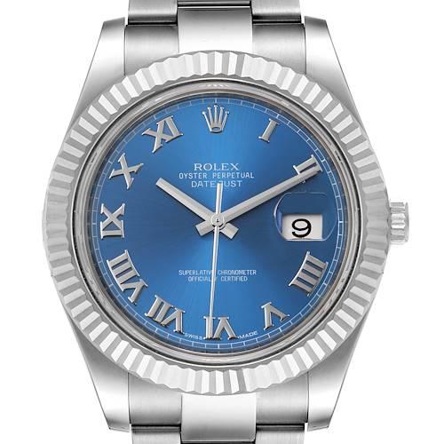 Photo of Rolex Datejust II Blue Roman Dial Fluted Bezel Mens Watch 116334
