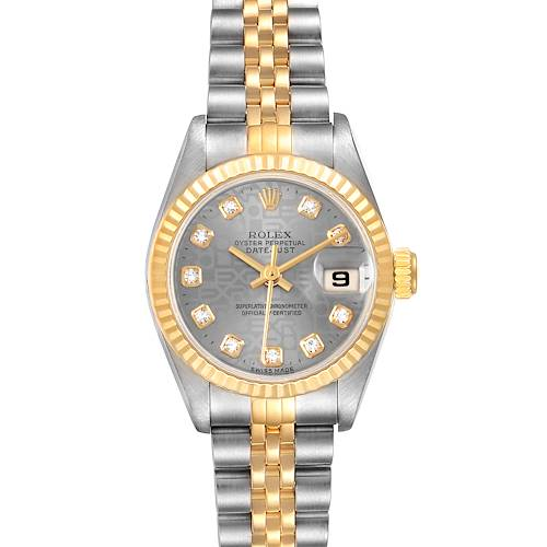 Photo of Rolex Datejust Steel Yellow Gold Diamond Dial Ladies Watch 69173 Box Papers