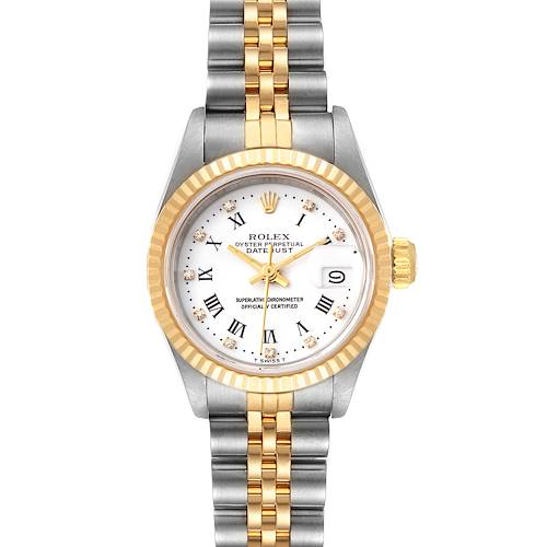 Photo of Rolex Datejust Steel Yellow Gold White Diamond Dial Watch 69173 Box Papers