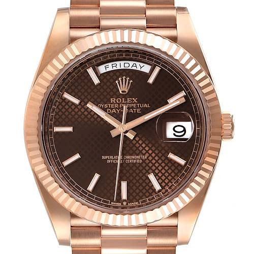Photo of Rolex Day-Date 40 President Rose Gold Chocolate Dial Watch 228235 Unworn