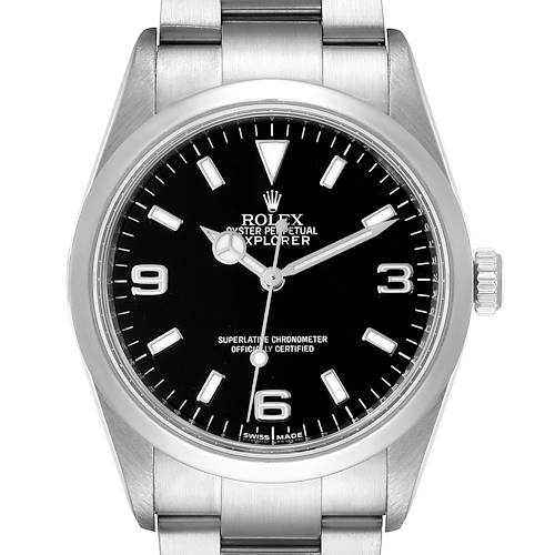 Photo of Rolex Explorer I Black Dial Stainless Steel Mens Watch 114270 Box Papers