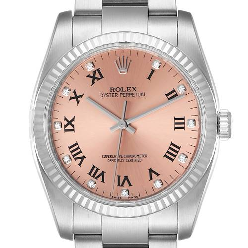 Photo of Rolex Oyster Perpetual 36 Steel White Gold Salmon Diamond Dial Watch 116034