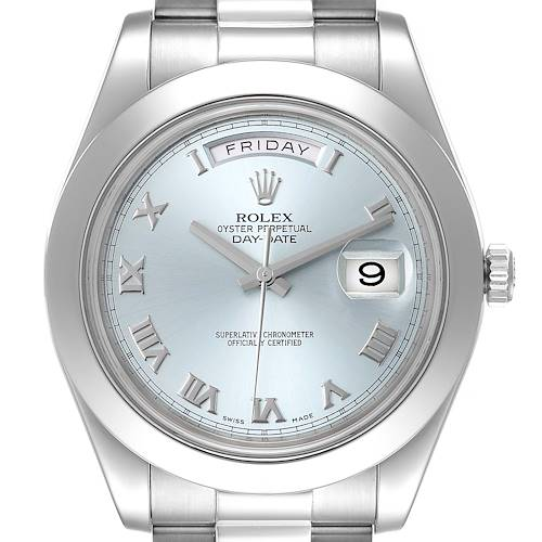 Photo of Rolex President Day-Date 41 Blue Dial Platinum Mens Watch 218206 Box Card