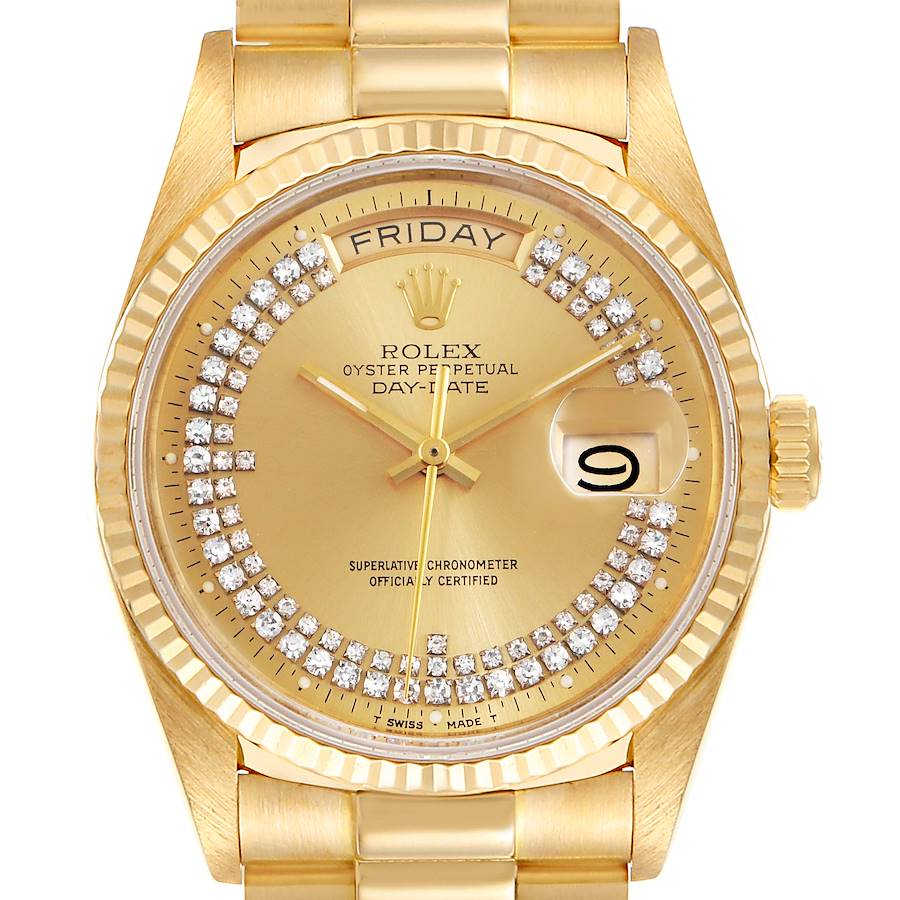 Rolex President Day-Date Yellow Gold String Diamond Dial Mens Watch 18038 SwissWatchExpo