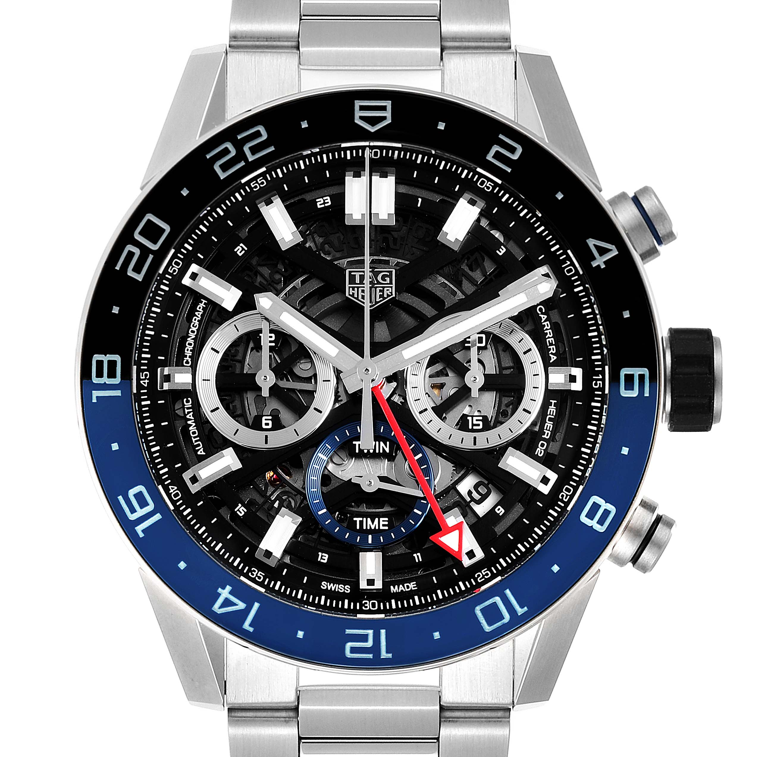 Tag Heuer Carrera Batman Bezel Chronograph Mens Watch CBG2A1Z Box Card