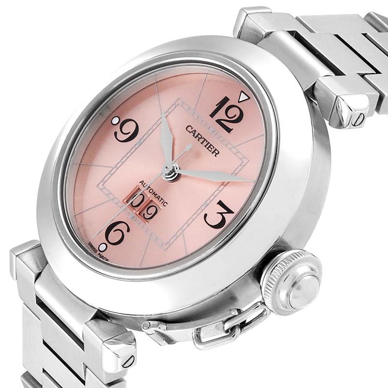 Cartier Pasha Big Date 35 Pink Dial Automatic Steel Ladies Watch W31058M7 SwissWatchExpo