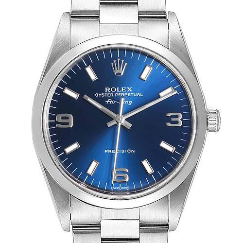 Photo of Rolex Air King 34 Blue Baton Dial Domed Bezel Steel Mens Watch 14000