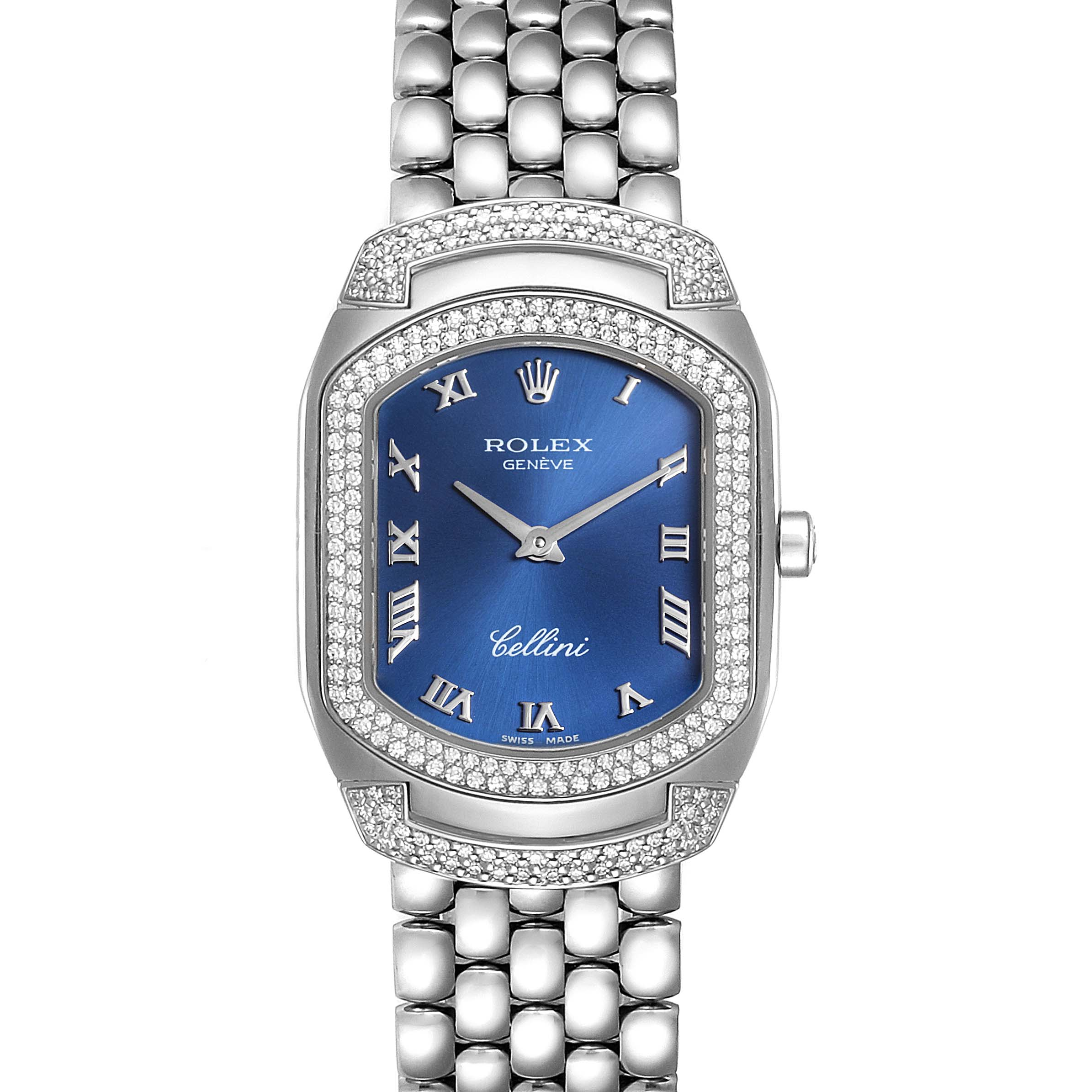 Rolex Cellini Cellissima Blue Dial White Gold Diamond Ladies Watch 6693