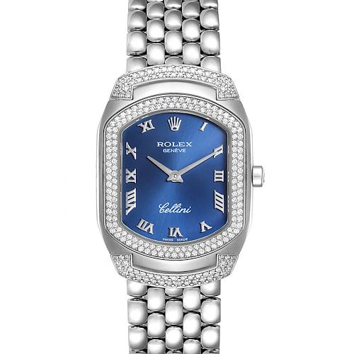 Photo of Rolex Cellini Cellissima Blue Dial White Gold Diamond Ladies Watch 6693