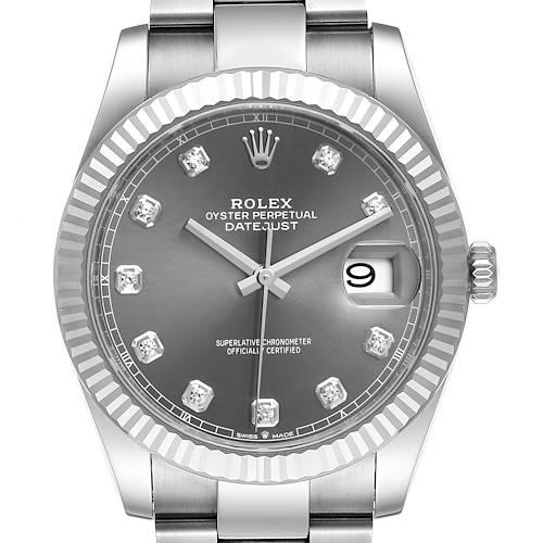 Photo of Rolex Datejust 41 Steel White Gold Diamond Mens Watch 126334 Box Card