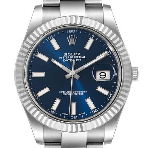 Photo of Rolex Datejust II 41mm Steel White Gold Blue Dial Mens Watch 116334 Box Card